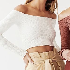 Free People Long Sleeve Textured Top Ivory   XS/S